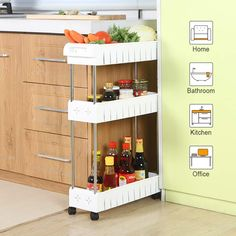 TOAO Gap Kitchen Slim Slide Out Storage Tower Rack--Mobile Shelving Unit Organizer with Universal Wheels and Hook-Slim Slide Out Pantry Storage Rack for Narrow Spaces Laundry, Bathroom&Kitchen Storage Cart, Pantry Storage, Kitchen Organization, Kitchen Storage, Storage Shelves, Storage Spaces, Extra Storage, Storage Baskets, Storage Ideas