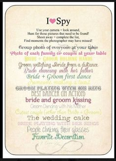 Wedding I Spy, alternative to a photobooth - Guests can upload to our wedding hashtag