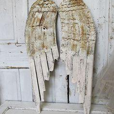 Off white Angel Wings wood and metal wings by AnitaSperoDesign