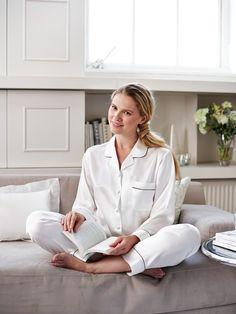 Women's Silk Pyjamas - Ivory