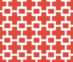 Squared Plus in Red fabric by sparrowsong on Spoonflower - custom fabric