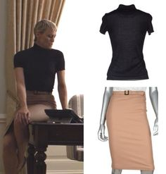 House of Cards season 2 fashion: Click to find out where to get Claire Underwood's (Robin Wright) black, shirtsleeved turtleneck sweater and camel pencil skirt #houseofcards #getthelook #claireunderwood