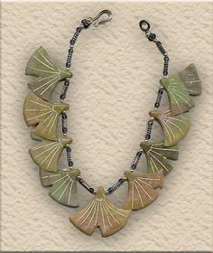 Faux jade polymer clay necklace by Tory Hughes.
