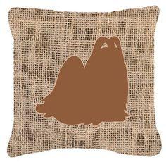 Maltese Burlap Indoor/Outdoor Throw Pillow