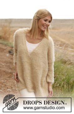 Knitted DROPS large jumper in Symphony or Melody with Glitter. Size: S - XXXL.