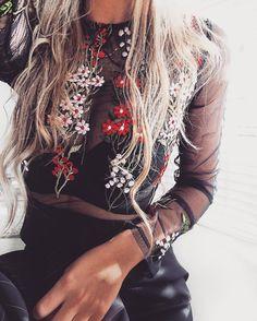 Black flower embroidered sheer mesh bodysuit