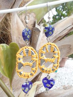 Upcycled Pop Tab Soda Tab Dangle Earrings Yellow with Blue Heart Beads Moroccan. $7.00, via Etsy.