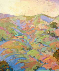 Hills in Quadtych - Modern Impressionism | Contemporary Expressionism Oil Paintings Landscapes for Sale by Erin Hanson