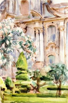 Palace and Gardens, Spain - John Singer Sargent, 1912, #landscape_painting