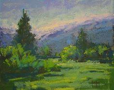 Meadow In Green by Barbara Churchley Pastel ~ 8 x 10