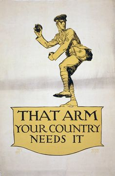 Truly fabulous WWI propaganda poster equating cricket with war.