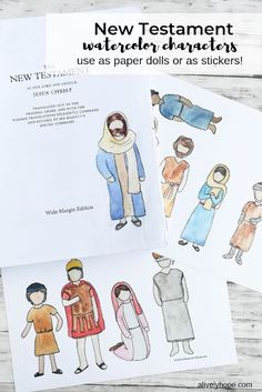Free printable New Testament figures. Use as paper dolls or add as an embellishment in your scripture journal or journaling bible. Bible School Crafts, Sunday School Crafts, Bible Crafts, Family Scripture, Scripture Study, Scripture Journal, Bible Stories For Kids, Bible Study For Kids, Kids Bible