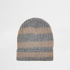 09504327820 Grey and gold lurex stripe beanie - hats - accessories - women Grey And  Gold