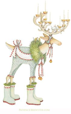 The fearless leader of our Dash Away Reindeer collection by Patience Brewster, Dasher leads the way dressed in bells and blue. He is adorned with evergreens and carries candles brightly lit upon his antlers for the midnight ride.