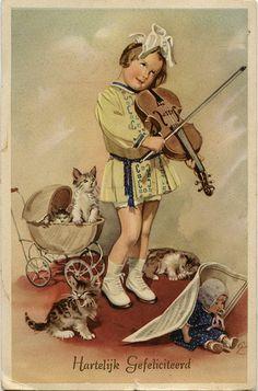 Vintage postcard / Girl playing violin surrounded by cats Vintage Pictures, Vintage Images, Violin Art, Birthday Postcards, Vintage Birthday Cards, Old Cards, Cat Doll, Vintage Cat, Vintage Music