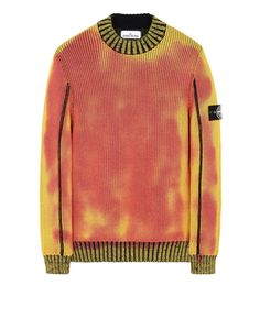 Crewneck sweater stone island men,  made with double knit construction # #sleeve #sweater #yellow
