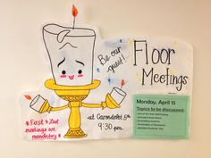 Cute Floor Meeting Poster. Could be reusable and RAs can put them on their doors along with some posters on main entrances/exits.