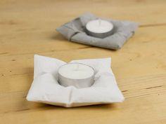DIY tutorial: Make A Concrete Pillow Style Tea Light Holder via DaWanda.com