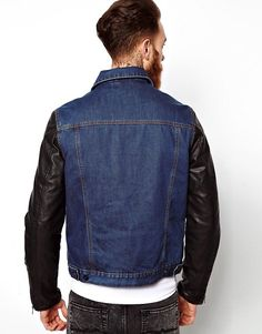 Buy ASOS Denim Jacket With Leather Look Sleeves at ASOS. With free delivery and return options (Ts&Cs apply), online shopping has never been so easy. Get the latest trends with ASOS now. Leather Sleeve Jacket, Fashion Online, Biker, Latest Trends, Asos, Denim, Sleeves, Jackets, Shopping