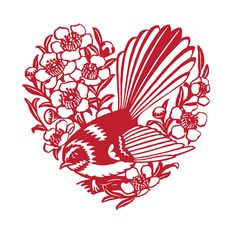 Fantail & Manuka Anniversary Love CardLive Wires cards are printed using vegetable-based inks on paper producedfrom certified and audited (WMF) Well Managed Forest plantations. Kirigami, Quilled Roses, Paper Art, Paper Crafts, Chinese Paper Cutting, Zealand Tattoo, Stencils, Papier Diy, New Zealand Art