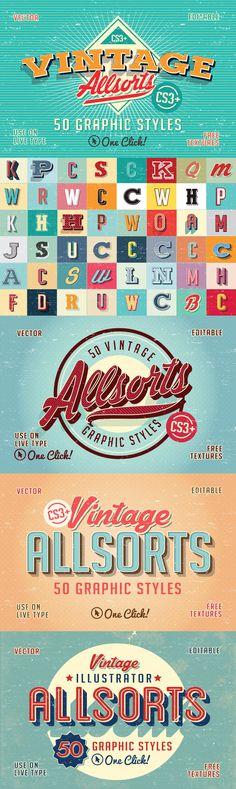 Vintage Allsorts Graphic Styles - Vintage Allsorts Illustrator Graphic Styles let you create vintage sign w...