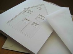 Little House - original, papercut card from Crafterall on etsy $5.00 #white #paper #stationery