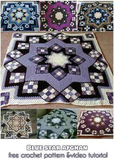 Beautiful Blue Star Afghan: Free Crochet Pattern and Video TutorialHave you ever seen a more beautiful afghan? This pattern is one of the most used crochet patterns in the world and thousands have been made in various colors.DIY Craft Projects Ideas and C Crochet Quilt Pattern, Bag Crochet, Crochet Afgans, Crochet Square Patterns, Crochet Squares, Crochet Blanket Patterns, Crochet Designs, Crochet Crafts, Crochet Yarn