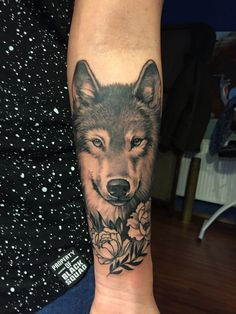 Realistic wolf and peony tattoo on a woman lower arm. - Realistic wolf and peony tattoo on a woman lower arm. Informations About Realistic wolf a - Wolf Tattoo Forearm, Tribal Wolf Tattoo, Wolf Tattoo Sleeve, Forearm Sleeve Tattoos, Tattoo Wolf, Tattoo Arm, Wolf Tattoos For Women, Hand Tattoos For Girls, Back Tattoo Women