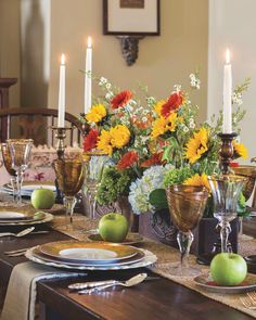 Apples and an arrangement of brilliant-orange gerbera daisies, sunflowers, and hydrangeas reign over this harvest tablescape. 🍽️ : @replacements #southernladymag #autumninthesouth #fallinthesouth #falltablescape #fallentertaining #flowers Gerbera Daisies, Sunflowers, Southern Ladies, Hydrangeas, Reign, Tablescapes, Apples, Harvest, Daisy
