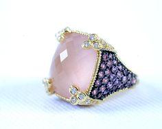 Judith Ripka frosted rose quartz ring.