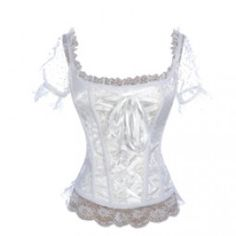 White Corset Top with Lace Sleeves and Ribbon Front