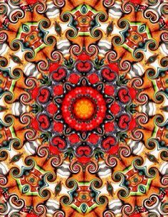 Caleidoscopio mandala rojo naranja