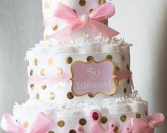 Pink and Gold baby shower/ Princess diaper di LittleOrchidStudio