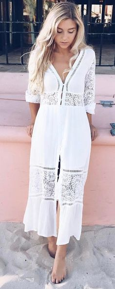 #summer #outfits White Crochet Lace Maxi Dress 🌸
