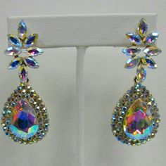 Iridescent crystal rhinestone earrings #beautiful #crystal #rhinestone #jewelry for #weddings #proms #pageants or any #event #bridesmaids #gift #bride #costumejewelry #accessories #statement #formal #date night #gorgeous #stunning #stones #bridal #john 3:16 Jewelry Earrings