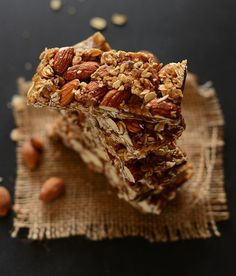 Healthy 5-Ingredient Granola Bars - 1 cup packed dates, pitted 1/4 cup honey (or sub maple syrup or agave for vegan option) 1/4 cup creamy salted natural peanut butter or almond butter 1 cup roasted unsalted almonds, loosely chopped 1 1/2 cups rolled oats optional additions: chocolate chips, dried fruit, nuts, banana chips
