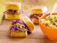 Hawaiian BBQ Pulled Pork Sandwich with Grilled Pineapple Relish recipe from Jeff Mauro via Food Network