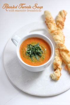 Roasted Tomato Soup with Muenster Cheese Breadsticks
