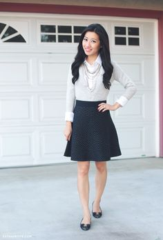 Extra Petite Styles Ann Taylor Dot Sweater Skirt for a day at the office Office Fashion, Work Fashion, Skirt Fashion, Fashion Outfits, Classy Work Outfits, Cute Outfits, Bohemian Skirt, Extra Petite, Professional Attire