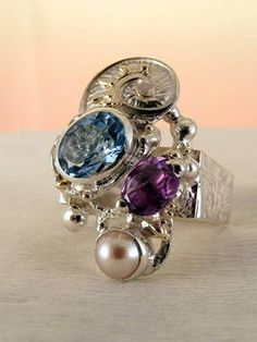 RT or Repin gregory pyra piro new work for sale  square #ring 3623 #sterling #silver and solid #gold, #handmade original