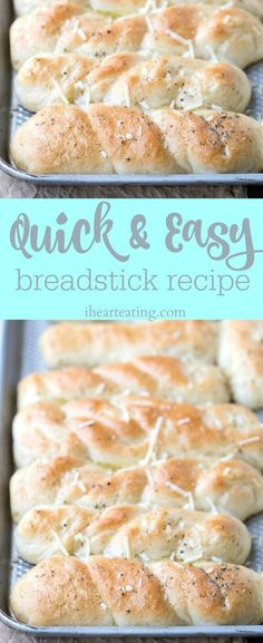 Quick and Easy Breadstick Recipe - simple recipe for homemade garlic cheese breadsticks! Great easy side for casserole or pasta dinner!