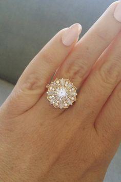 E-F Moissanite Diamond and CZ Engagement ring Art Deco Halo   Etsy