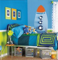 fun/kid space themed room    Look at the lights on the rocket!  Cute!