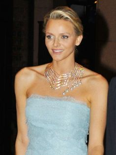 Her Serene Highness Princess Charlene of Monaco wears the necklace Infinite Cascade by Tabbah