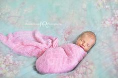 Newborn portraits // pink wrap, aqua, teal, mint blanket, flower overlay // client's home - St. Charles, IL // by Mandy Ringe Photography