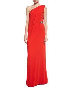 HALSTON HERITAGE One-Shoulder Belted Gown, Lipstick. #halstonheritage #cloth #