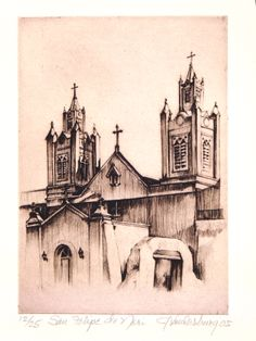 """San Felipe de Neri"" : Jan Vanderburg Printmaker : www.janvanderburgprintmaker.com : New Mexico Churches, Monuments and HistoricalSites"