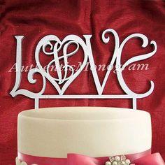 aMonogramArtUnlimited Love Wooden Cake Topper Color: Wood Violet