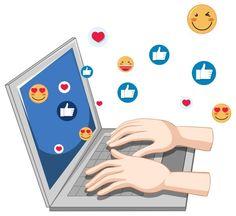 Notebook with social media icon theme an... | Free Vector #Freepik #freevector #hand #facebook #cartoon #hands Emoji Mignon, Workshop Icon, Icones Facebook, Social Network Icons, Emoji Set, Social Topics, Internet Icon, Education Icon, Web Project