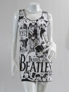 The Beatles Vintage Rock Cartoon Comic Funny Chic Design Art Indie Rock Tank Top Mini Dress Tunic Singlet Indie T-Shirt Rock T-Shirt Size S